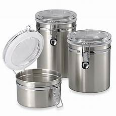 oggi kitchen canisters oggi brushed stainless steel canister bed bath beyond