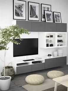 Ikea Besta Wohnzimmer - best 197 tv komb mit vitrinent 252 ren grau las nussbaumnachb