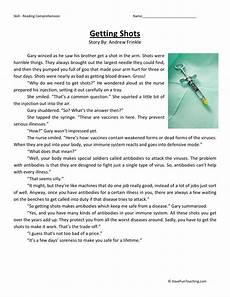 reading comprehension worksheet getting shots