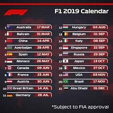 2019 F1 Calendar Formula 1 Amino