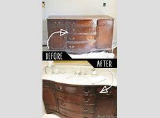 4. Make A Bathroom Vanity Out Of An Old Dresser!   Diy
