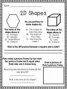 shapes worksheets second grade 1262 2nd grade shapes worksheet assessment front and back or two pages
