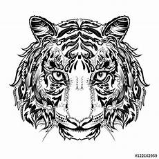 quot tiger black and white silhouette with ornament
