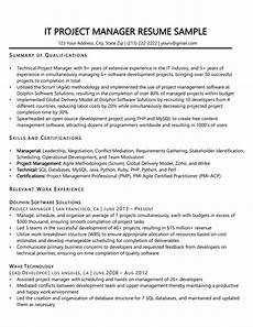 project manager resume sle writing tips resume companion