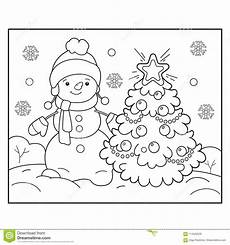 Neujahr Malvorlagen Januarie Coloring Page Outline Of Snowman With Tree