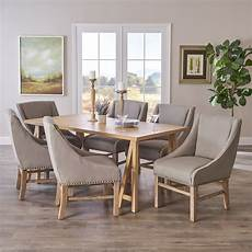 sarrave farmhouse dining with fabric dining chairs natural oak and silver walmart com
