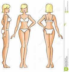 female model front and side woman body front back and side view stock vector