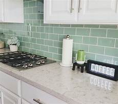 Green Glass Tiles For Kitchen Backsplashes Subway Tile In Seaglass Green Backsplash With White Grout
