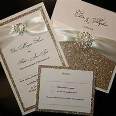 chagne gold glitter wedding invitations luxury handmade