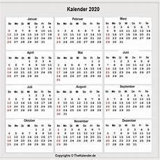 kalender 2020 zum ausdrucken als pdf word excel