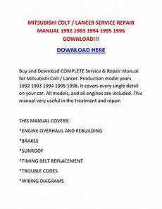 small engine repair manuals free download 1996 mitsubishi pajero interior lighting mitsubishi colt lancer service repair manual 1992 1993 1994 1995 1996 download by