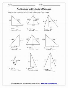 find the area and perimeter of triangles perimeter of triangle area and perimeter triangle