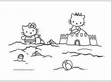 Strand Kleurplaat Zandkasteel Hello Kitty   Kleurplaten