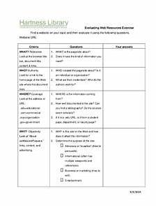 evaluating websites worksheet printables template for 6th 12th grade lesson planet
