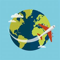 Traveling Around The World By Plane Vector Premium
