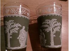 6 Vintage Egyptian Style Drinking Glasses Green   eBay