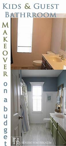 kids and guest bathroom makeover on a budget vinyl floor tiles board and batten painted