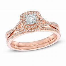 1 2 ct t w diamond double frame bridal in 14k rose gold from this moment collections