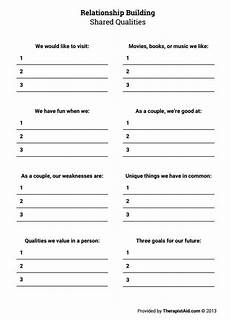 relationship building shared qualities worksheet relationship therapy premarital counseling