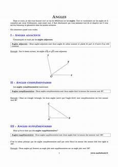 Angles Cours Pdf 224 Imprimer Maths 5 232 Me