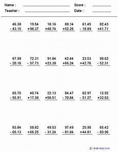 decimal worksheet adding and subtracting 7596 decimals worksheets decimals worksheets