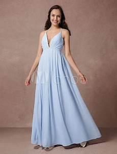 Robe 233 L 233 Gante Demoiselle D Honneur A Ligne En Chiffon Bleu