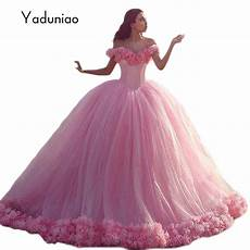 luxurious pink quinceanera ball gown flower vestidos de novia big tail lace up