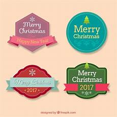 merry christmas flat stickers collection free vector