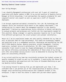 quality control cover letter job application letter