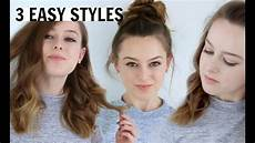 3 easy hairstyles for medium length hair youtube