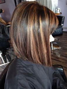 angled bob rich brown base with caramel highlights short hair styles pinterest angled bobs
