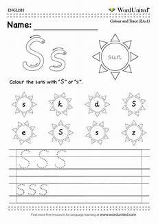 read and write the english alphabet free worksheet efl esl english alphabet s sun letter read