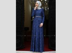 Indigo   Fully Lined   Crew neck   Muslim Evening Dress