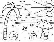 Einfache Ausmalbilder Sommer Sommer Sonnenschirm Ausmalen Zum Ausmalen