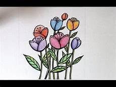 Cara Menggambar Bunga Yang Mudah