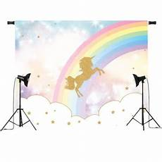 5x3ft 7x5ft Rainbow Clouds Unicorn Photography by Backdrops 5x3ft 7x5ft Rainbow Sky Gold Unicorn