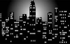 Hitam Dan Putih Malam Waktu Kota Cakrawala Vektor Gambar