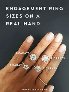 a side by side carat comparison of different engagement ring sizes an a 4 and jewelry