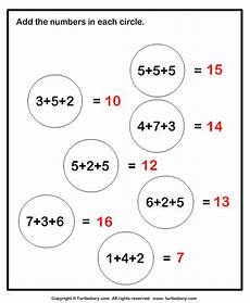 1st grade math worksheet adding 3 numbers adding three one digit numbers sums up to twenty worksheet