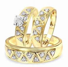1 2 carat diamond trio wedding ring 14k yellow gold