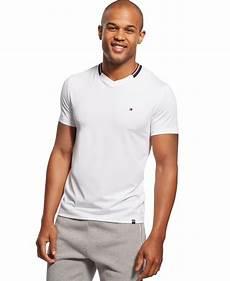 hilfiger collar stripe v neck t shirt in white for