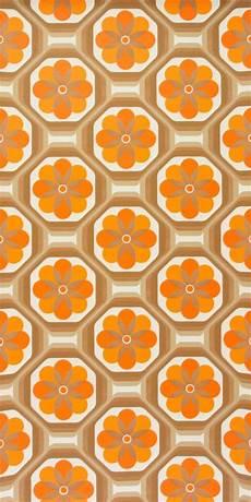 Original 70er Jahre Tapete Mit Geometrisch Floralem Muster