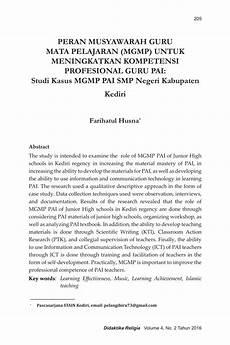 pdf peran musyawarah guru mata pelajaran mgmp untuk