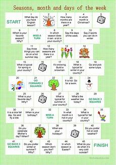 worksheets seasons and days of the week 14784 board month seasons days of the week worksheet free esl printable worksheets made by