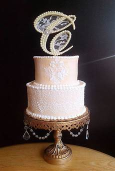 ivory pearls and lace wedding cake topper monogram