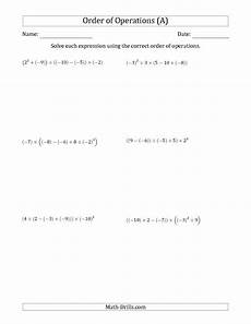 algebra operations worksheets 8533 improved the order of operations with negative and positive integers five steps a math