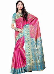 buy pink n light blue raw silk saree zari sari online shopping sadsfcns1661