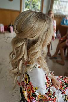 half up half down curl hairstyles partial updo wedding