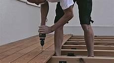 Professionelle Montage Einer Holzterrasse Installation