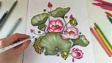 fiore con la a lotus blossom coloring with colored pencils botanical